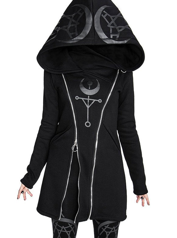 Women's Twin Moon Hoodie Jacket by Restyle (Black)