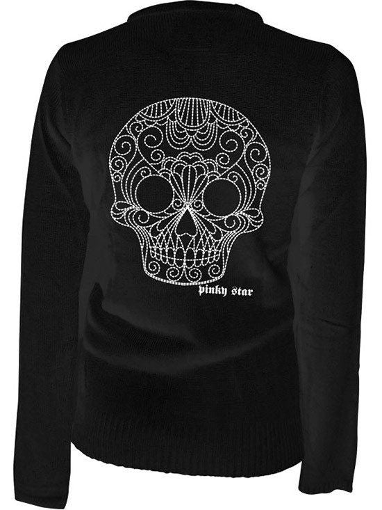 "Women's ""Quilted Sugar Skull"" Cardigan by Pinky Star (Black) - www.inkedshop.com"