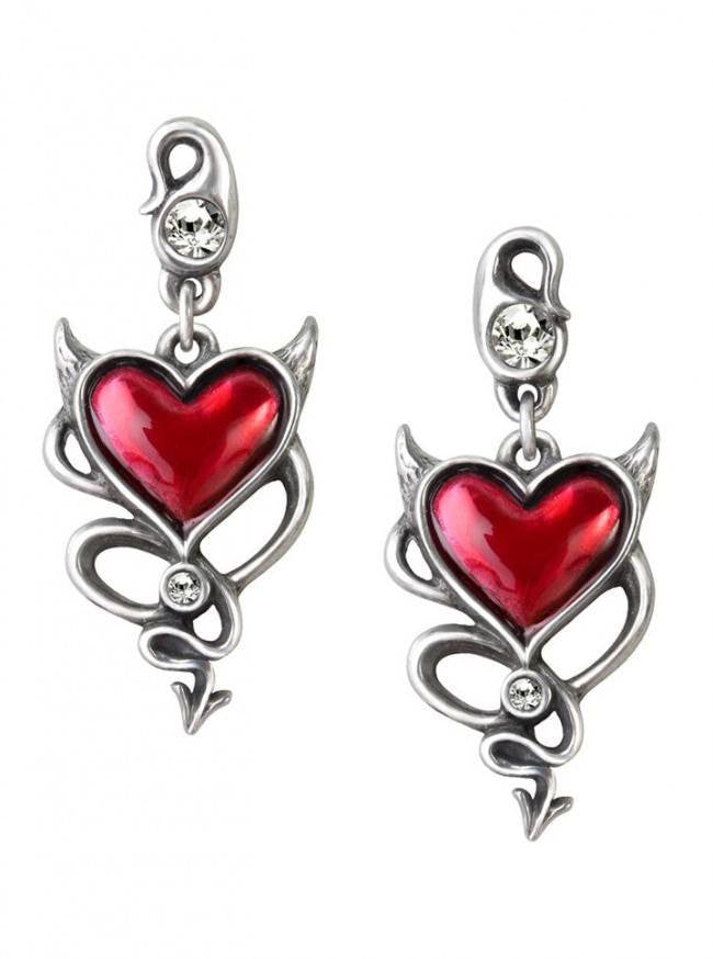 """Devil Heart"" Earrings by Alchemy of England - www.inkedshop.com"