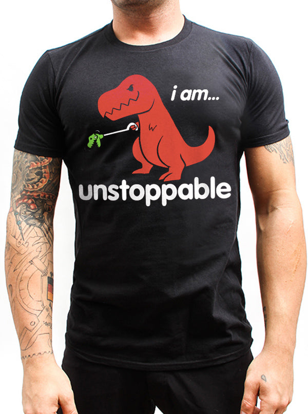 "Men's ""Unstoppable T-Rex"" Tee by Goodie Two Sleeves (Black)"