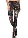 "Women's ""Brussel"" Floral Leggings Poprageous (Black) - www.inkedshop.com"