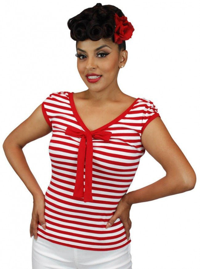 "Women's ""French"" V Cut Top by Pinky Pinups (Red/White) - www.inkedshop.com"