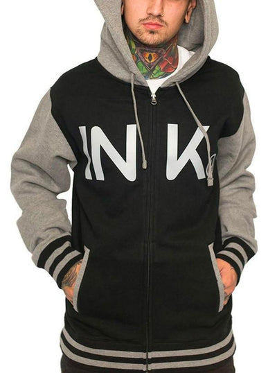 Unisex Varsity Zip-Up Hoodie by InkAddict