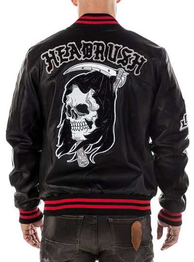 "Men's ""Reapers Vengence"" Varsity Jacket by Headrush Brand (Black)"