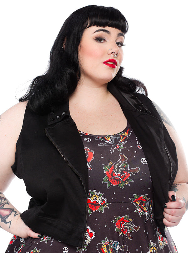 "Women's ""Studded"" Moto Vest by Sourpuss (Black)"