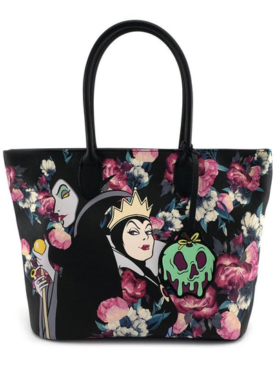 """Disney Villains"" Floral Tote Bag by Loungefly (Black)"
