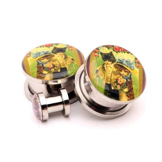 Vintage Cats Picture plugs by Mystic Metals - InkedShop - 1