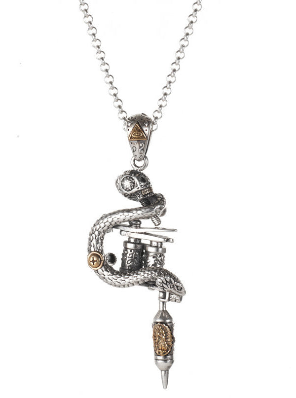 """Viper Tattoo Machine"" Necklace by Silver Phantom Jewelry"
