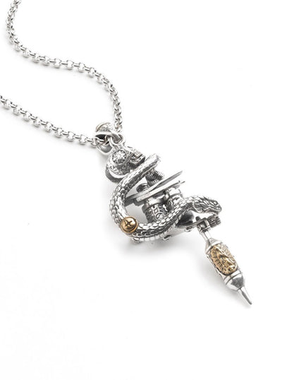 Viper Tattoo Machine Necklace by Silver Phantom Jewelry