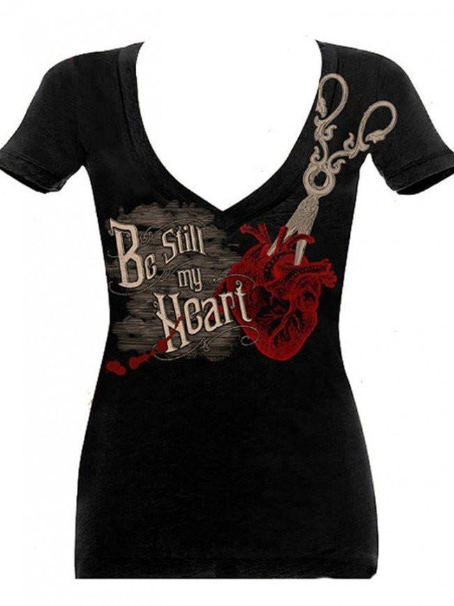"Women's ""Be Still My Heart"" V-Neck Tee by Se7en Deadly (Black) - InkedShop - 1"