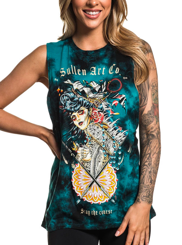 Women's Voyage Muscle Tee by Sullen (Teal)