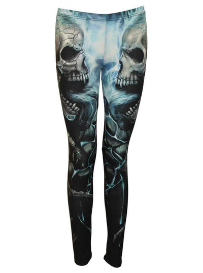 "Women's ""Flaming Spine"" Allover Leggings by Spiral USA (Light Blue) - www.inkedshop.com"