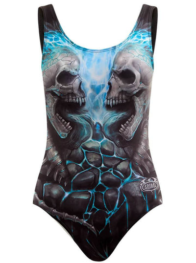 "Women's ""Flaming Spine"" Allover Padded Swimsuit by Spiral USA (Light Blue) - www.inkedshop.com"