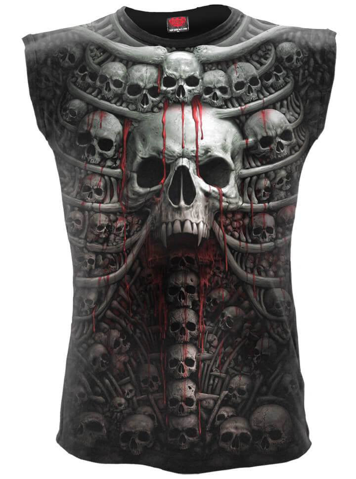 "Men's ""Death Ribs"" Allover Sleeveless Tee by Spiral USA (Black) - www.inkedshop.com"