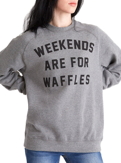 Unisex Weekends Are For Waffles Fitted Crewneck by Pyknic