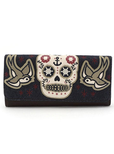 """Sugar Skull with Sparrows"" Trifold Wallet by Loungefly (Denim)"