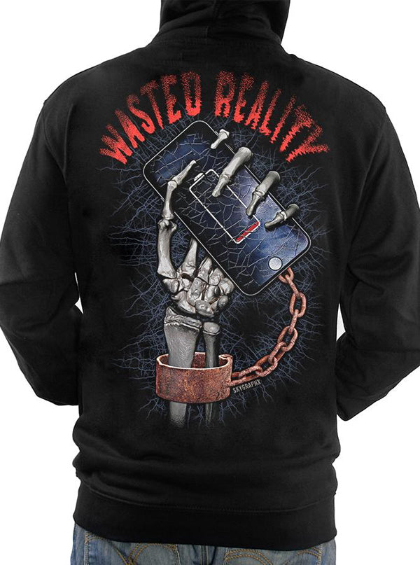 Men's Wasted Reality Zip Up Hoodie by Skygraphx