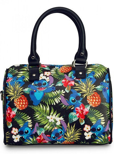 """Stitch Hawaiian"" Print Pebble Crossbody Duffle by Loungefly (Black) - www.inkedshop.com"