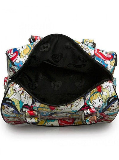 """Disney Princesses"" Classic Print Crossbody Duffle by Loungefly (Multi) - www.inkedshop.com"