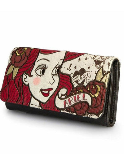 """Ariel True Love"" Wallet by Loungefly (Biege/Red/Brown) - www.inkedshop.com"
