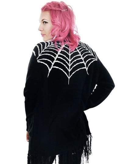 "Women's ""Spider Web"" Fringe Cardigan by Rat Baby (Black)"