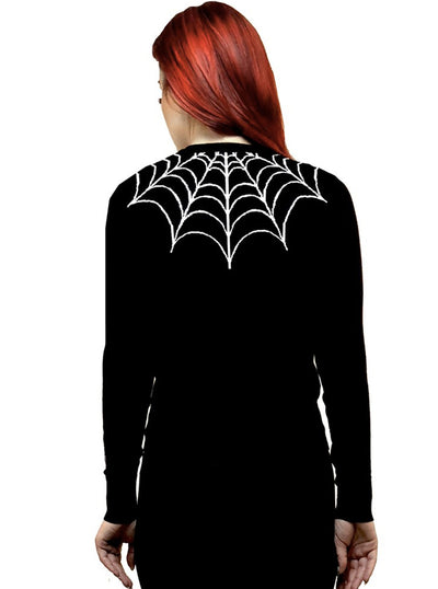 Women's The Tangled Web We Weave Embroidered Cardigan by Rat Baby