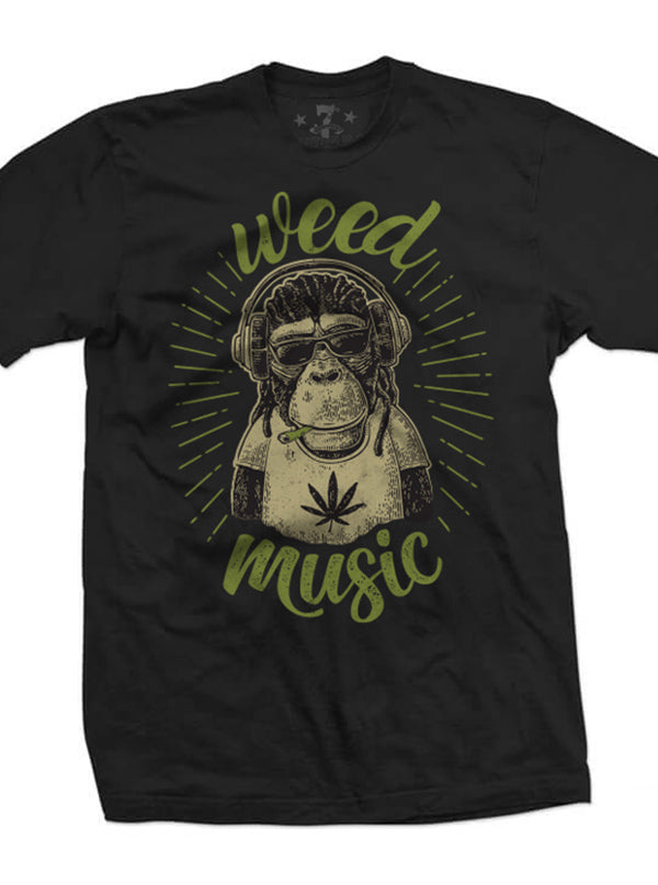 "Men's ""Weed Music"" Tee by 7th Revolution (Black)"