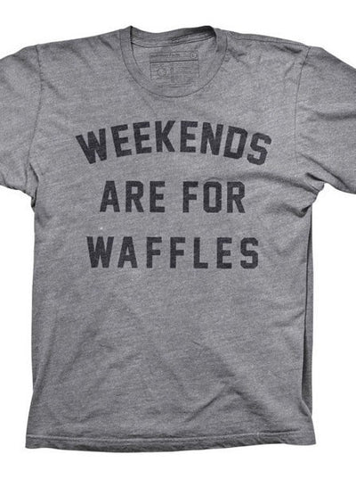 "Men's ""Weekends Are For Waffles"" Tee by Pyknic (Grey) - www.inkedshop.com"