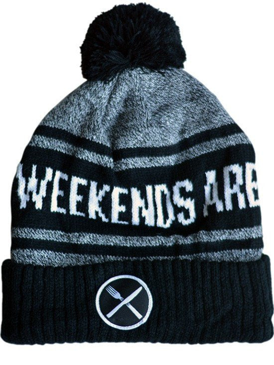 """Weekends Are For Waffles"" Knit Pom Beanie by Pyknic (Black/Grey) - www.inkedshop.com"