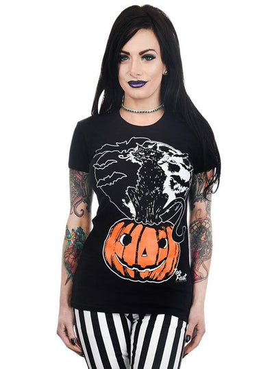 "Women's ""Moonlit Cat"" Babydoll Tee by Too Fast (Black)"