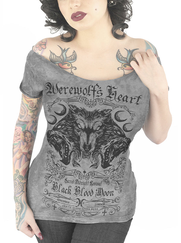 Women's Werewolf's Heart Off Shoulder Tee by Serpentine Clothing