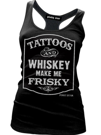 "Women's ""Tattoos and Whiskey Make Me Frisky"" Racerback Tank by Pinky Star (Black) - InkedShop - 1"