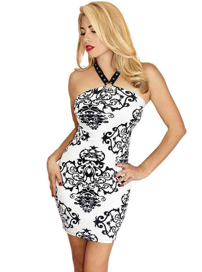 "Women's ""Damask"" Temptress Harness Dress by Demi Loon (White)"