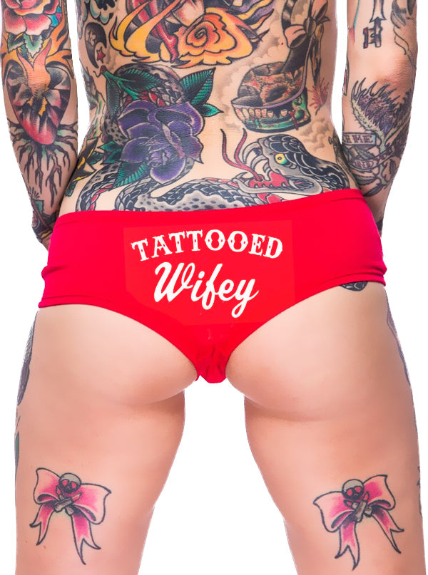 Women's Tattooed Wifey Booty Shorts by Cartel Ink