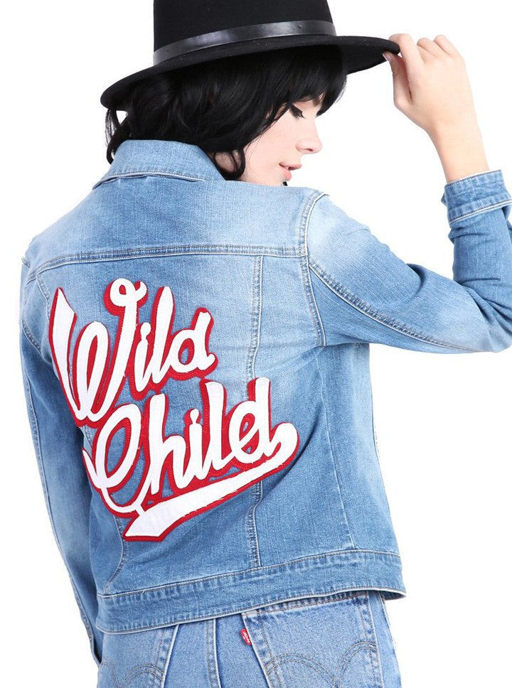 "Women's ""Wild Child"" Denim Jacket by Pretty Attitude Clothing (Blue) - www.inkedshop.com"