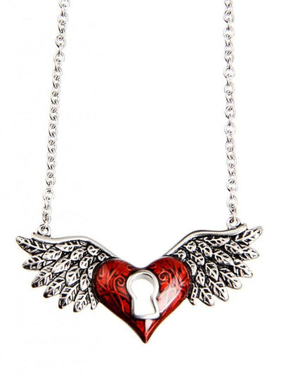 """Winged Heart"" by Controse (Silver/Red) - www.inkedshop.com"