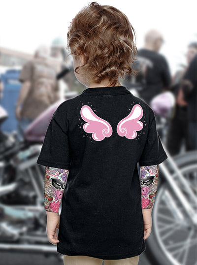 "Kids ""Angel Wings"" Tattoo Sleeve Tee by Lethal Angel (Black)"