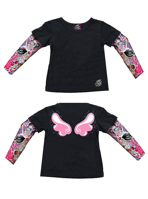 Kids Angel Wings Tattoo Sleeve Tee by Lethal Angel