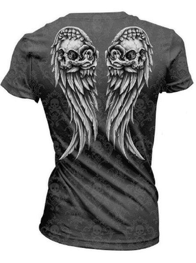 "Women's ""Wing Skull"" Burn Out Tee by Lethal Angel (Grey)"