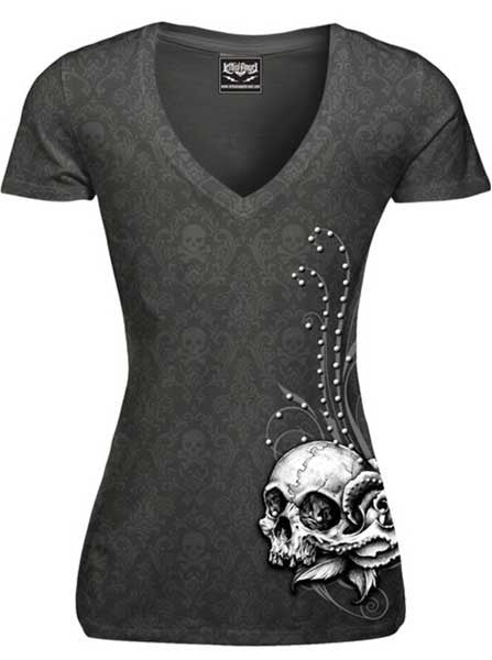 Women S Quot Wing Skull Quot Burn Out Tee By Lethal Angel Grey