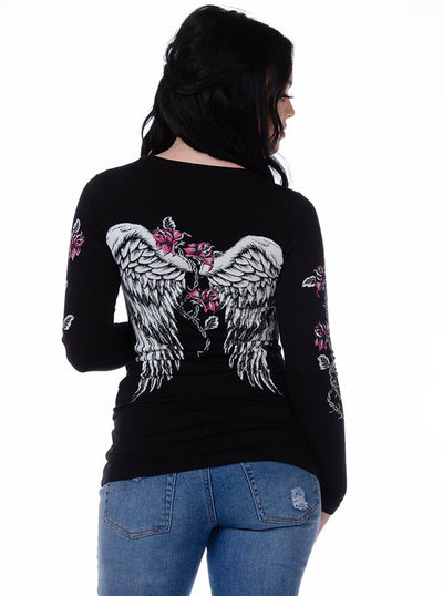 Women's Barbed Wire and Roses Long Sleeve Tee by Liberty Wear