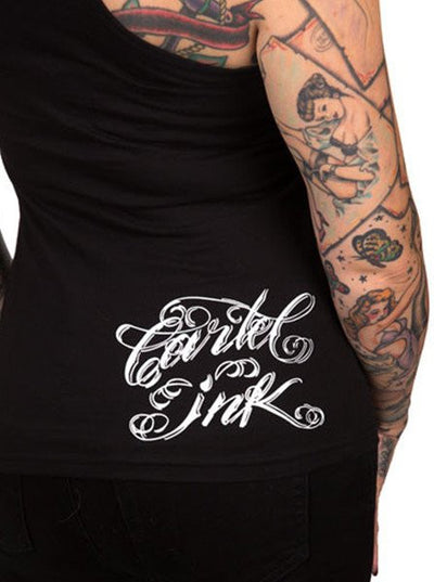 "Women's ""Tattooed Low life"" Tank Top by Cartel Ink (Black)"