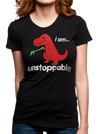 "Women's ""Unstoppable T-Rex"" Tee by Goodie Two Sleeves (Black) - www.inkedshop.com"