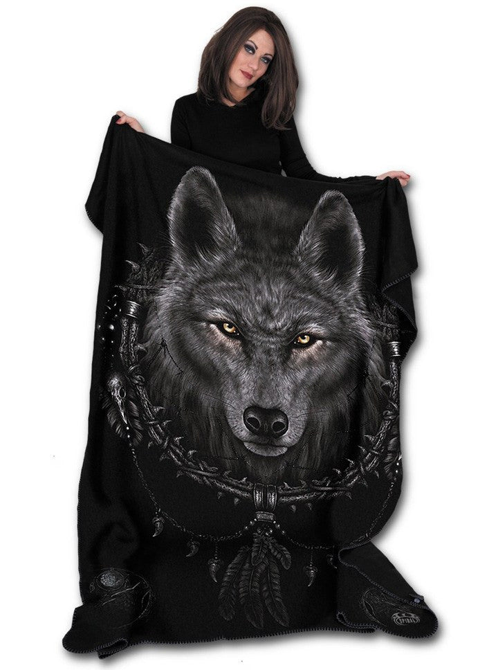 """Wolf Dreams"" Fleece Blanket by Spiral USA (Black) - www.inkedshop.com"