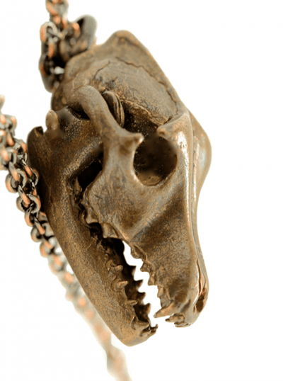 """Wolf Skull With Moving Jaw"" Necklace by Blue Bayer Design (Bronze) - www.inkedshop.com"