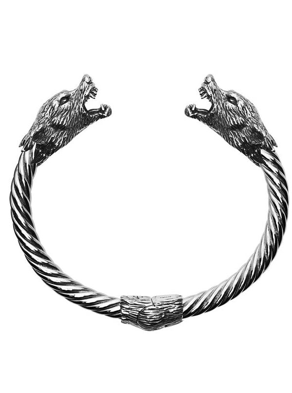Wolf Bangle Bracelet by Silver Phantom Jewelry