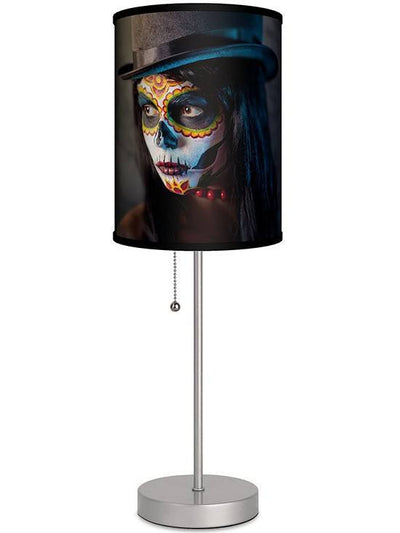 Silver Lamp With Top Hat Woman Shade by Lamp in A Box - www.inkedshop.com