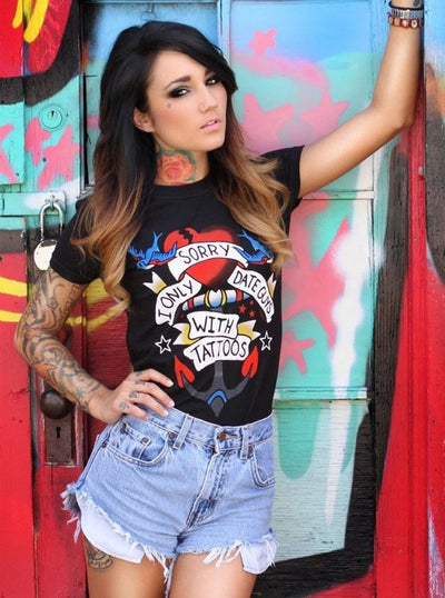 "Women's ""Date Guys With Tattoos"" Tee by Dirty Shirty (Black) - www.inkedshop.com"