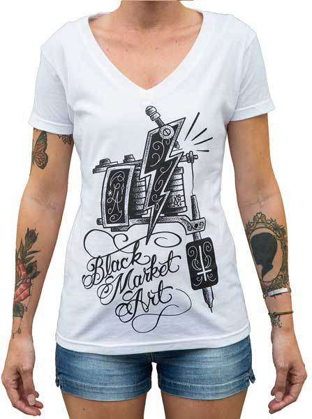 Women's Machine V-neck Tee by Black Market Art
