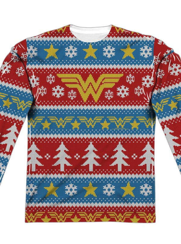 Dc Christmas Sweater.Men S Wonder Woman Ugly Holiday Sweater Long Sleeve Tee By Dc Comics
